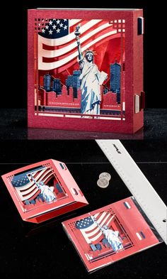 Pop up Card 3d card, Christmas New York gift The Statue of Liberty United States Gifts Independence Day Souvenir USA Flag USA gift for tourists #usa #usacard #newyork  #3dcards
