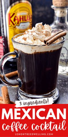 Mexican Coffee Cocktail Alcoholic Desserts, Cocktail Desserts, Coffee Cocktails, Drinks Alcohol Recipes, Yummy Drinks, Mexican Cocktails, Cocktail Drinks, Fun Drinks, Drink Recipes