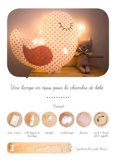Lampe en tissu Cute Sewing Projects, Diy Projects To Try, Diy Bebe, Felt Wreath, Baby Couture, Creation Couture, Diy For Kids, Diy Gifts, Kids Room