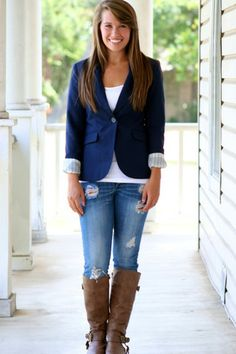 Love the blazer. The jeans are casual but the blazer dresses it up
