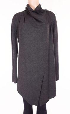 HELMUT LANG Sonar Wrap Shell Size M Medium Gray Wool Draped Shawl Cardigan #HelmutLang #WrapSwing