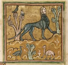 Detail of a miniature of a manticore from the Rochester Bestiary, England (Rochester?), c. 1230, Royal MS 12 F XIII, f. 24v