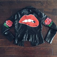 """Large Sequin Patches For the Lip Bitting Biker Babe... No Man Can Hold Her Down 1x Large Lips Sequined Patch - 12"""" x 7"""" 2x Rose Sequined Patches - 5"""" x 4"""" All patches are meant to be sewed or glued on"""