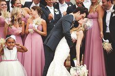 Southern wedding - pink bridesmaids dresses