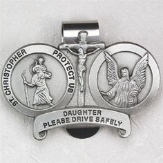 Fine Pewter Son Always Drive Safely Cross Auto Visor Clip 2 1//8 Inch