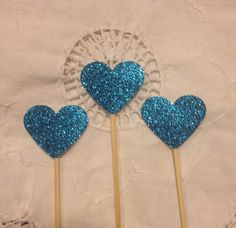 Blue Glitter Heart  Cupcake Cake Toppers  Wedding by TypeWright