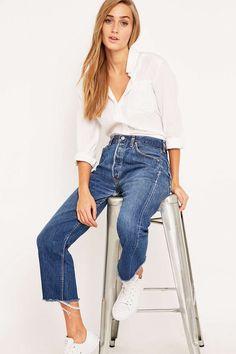 Urban Renewal Vintage Customised Levi's 501 Dark Wash Cropped Jeans