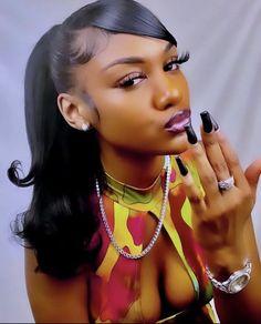 Baddie Hairstyles, Black Girls Hairstyles, Pretty Hairstyles, Straight Hairstyles, Braided Hairstyles, Hair Ponytail Styles, Curly Hair Styles, Natural Hair Styles, Pretty Black Girls