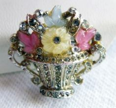 1940s Flower Basket Brooch by Adolph Katz Coro