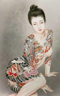 Japanese tattoo woman, by Ozuma Kaname. Kunst Tattoos, Body Art Tattoos, Girl Tattoos, Drawing Tattoos, Woman Tattoos, Drawings, Japanese Tattoo Art, Japanese Painting, Yakuza Girl