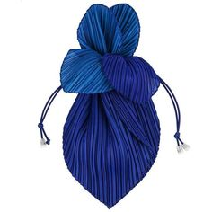 """Preowned Issey Miyake """"pleats Please"""" Royal Blue Pleated Drawstring... (695 RON) ❤ liked on Polyvore featuring bags, handbags, clutches, blue, man bag, hand bags, clear hand bags, drawstring pouch and royal blue handbag"""