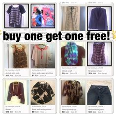 BOGO SALE!!! All items are available for buy one get one free! Simply comment on the garment you'd like and we will talk sale about your second item!! Other