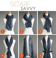 1. Simply wrap your scarf twice, tighter at the neck, and tie loosely. 2. Fold your scarf in half, put the middle around your neck. Wrap the sides around your neck and back through the loop you made in front of your neck. 3. Fold your scarf in half and wrap around your neck, threading the ends back through the center loop. 4. Tie a knot towards the bottom of your scarf. 5. Wear it open, draped over your shoulders like a pashmina. 6. Wrap a belt around your scarf for a vest-like feel.