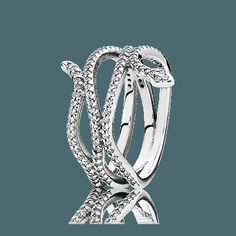 PANDORA   Snake silver ring with cubic zirconia