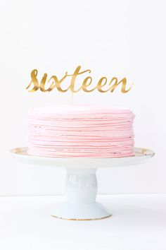 Sweet Sixteen Cake Topper Gold Number Cake Topper Girls 16th Birthday Party Age Cake Topper Pink Gold Party Supplies Gold Foil Decorations