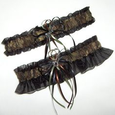 Deer Hunting Camouflage Wedding Garter Set on Black  Camo by avysm, $26.99