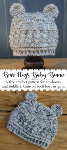 Crochet a cute baby bear hat for newborns, and toddlers with this free pattern! The classic textures make it work for either a boy or a girl. This beanie would also be a perfect photography prop for newborn pictures! Baby Beanie Crochet Pattern, Newborn Crochet Hat Pattern, Crochet Bear Hat, Crochet Hats For Girls, Crochet Baby Stuff, Crochet Toddler Hat, Crochet Baby Boys, Crocheted Baby Hats, Baby Knitting Patterns Free Newborn