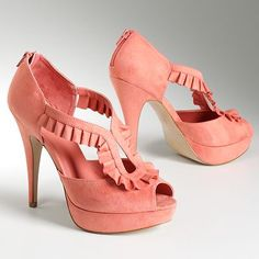 $64.99 #Elle enchange #platform #peep-toe #highheels. Gorgeous pink color. They also come in gray!! <3 SWOON