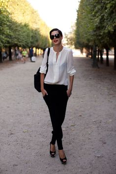 white shirt, black pants, classic