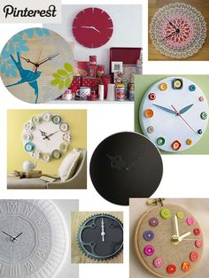 button clock in an embroidery hoop? count me in.