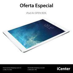 """Oferta Especial. iPad Air Open Box. iPad Air con pantalla Retina de 9.7"""", procesador Apple A7, conectividad Wi-Fi, almacenamiento de 16GB, precio U$S 499."""