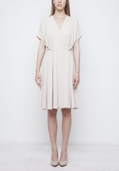 Image of Beige 'Cannes' Dress Spring Summer 2016, Cannes, Wrap Dress, Dresses For Work, Beige, Fashion, Taupe, Moda, Fashion Styles