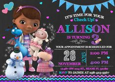 Doc mcstuffins birthday party invitation digital file pinterest doc mcstuffins invitation birthday doc mcstuffins party filmwisefo
