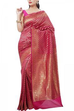 Dark Pink Zari Buti Banarasi Silk Saree