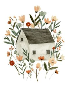 Floral Cottage art print sweet house and garden watercolour, house illustration Floral Cottage art print sweet house and garden watercolour, Garden Illustration, Watercolor Illustration, Watercolor Art, Friends Illustration, Illustration Inspiration, Garden Drawing, Garden Art, Garden Kids, House Drawing