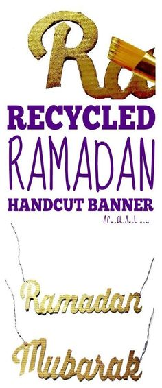 Now that we have our yarn wreath from yesterday, we needed a banner to make it ready for Ramadan with a hand cut banner greeting. The phrase Ramadan Mubarak… Eid Crafts, Ramadan Crafts, Ramadan Decorations, Projects For Kids, Crafts For Kids, Art Projects, Old And Teen, Ramadan Mubarak, Ramadan Recipes