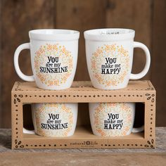 Set of 2 Mugs - You Are My Sunshine by natural life
