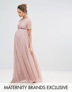 Maya Maternity Embellished Bodice Maxi Dress With Tulle Skirt