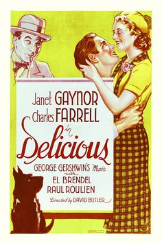 A poster for David Butler's 1931 musical film 'Delicious' starring Janet Gaynor and Charles Farrell