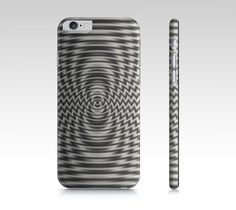 """iPhone 6 / 6S """"Optical Illusion Grey Cream Concentric Wave Zig Zag Pattern"""" by Jocelyn Ball"""