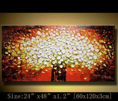 Pintura abstracta original, empaste flores gruesa textura moderna espátula artísticas por Chen n068