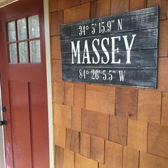 FAMILY NAME SIGN, Gps Coordinates gift, Large Latitude Longitude Sign, Nautical Wood Sign, Housewarming gift, Hostess Gift, City Sign