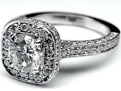 Engagement Ring - Double Diamond Halo Cathedral Vintage Engagement Ring in 14K White Gold - ES658BR