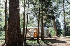 Vintage Airstream trailer parked at the Inn Town Campground, Nevada City, California.  Photo by Kat Alves Photography