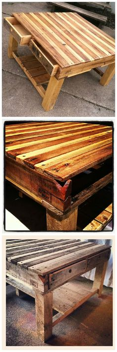 Here is a coffee table I constructed from two smaller pallets. It is complete with four drawers. To keep it completely pallet inspired I used finger holes