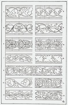 could be used as stencil guide Graphisches Design, Pattern Design, Border Pattern, Border Design, Pattern Ideas, Design Elements, Motifs Art Nouveau, Carving Designs, Leather Pattern