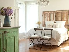 So wish I could find some Old Doors! Save money on decor without skimping on style by using salvaged doors as a headboard. Salvaged Doors, Old Doors, Repurposed Doors, Rustic Doors, Barn Doors, Distressed Furniture, Repurposed Furniture, Farmhouse Furniture, Furniture Plans