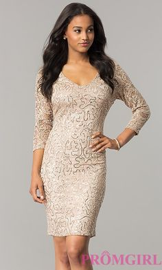 Sequin-Lace Taupe Nude Party Dress with 3/4 Sleeves