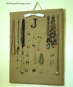 Burlap Jewelry Organizer - An Oregon Cottage   An Oregon Cottage