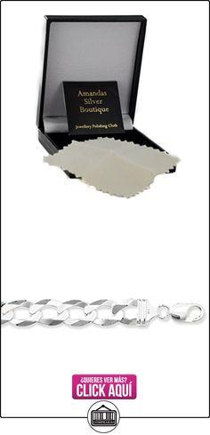 Broche de plata de ley abierto plano cadena de collar con colgante en forma -13 millimeter de grosor - varias longitudes - 22 y 60,96 cm largo  ✿ Joyas para hombres especiales - lujo ✿ ▬► Ver oferta: https://comprar.io/goto/B015S04ZDO