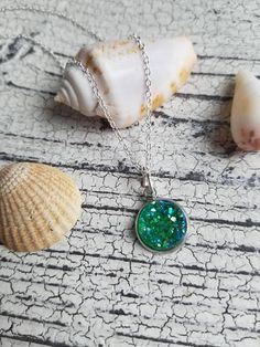 Green druzy pendant charm necklace 18 inch silver plated chain // druzy charm necklace // druzy jewelry // green sparkly druzy necklace 18 inch silver plated chain necklace with a sparkly green druzy charm.