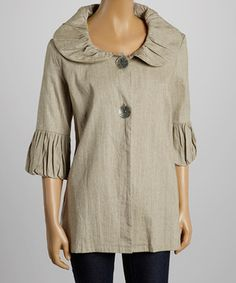 Another great find on #zulily! Sage Ruffle Linen Jacket- Women by Fantazia #zulilyfinds