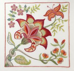 Crewel Embroidery Kit - SCARLET GLORY by FineStitchStudio on Etsy https://www.etsy.com/uk/listing/489166585/crewel-embroidery-kit-scarlet-glory