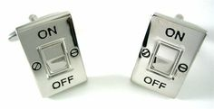 ON Off Silver Switch Electrician Power Cufflinks w/Box CuffCrazy. $23.88. Money Back Guarantee if not 100% Satisfied. Free Gift Box Included. Realistic On Off Switch Design