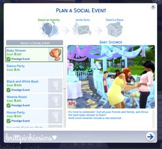 brittpinkiesims created a custom Baby Shower event mod for TS4, and also has a Prom mod!