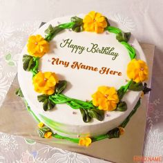 Happy Birthday Bhaiya, 20th Birthday Wishes, Birthday Cake Write Name, Sweet Birthday Cake, Yellow Birthday Cakes, Birthday Cake Writing, Happy Birthday Wishes Photos, Birthday Cake With Flowers, Cake Name